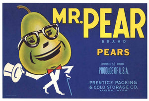 Mr. Pear Brand Vintage Yakima Washington Pear Crate Label