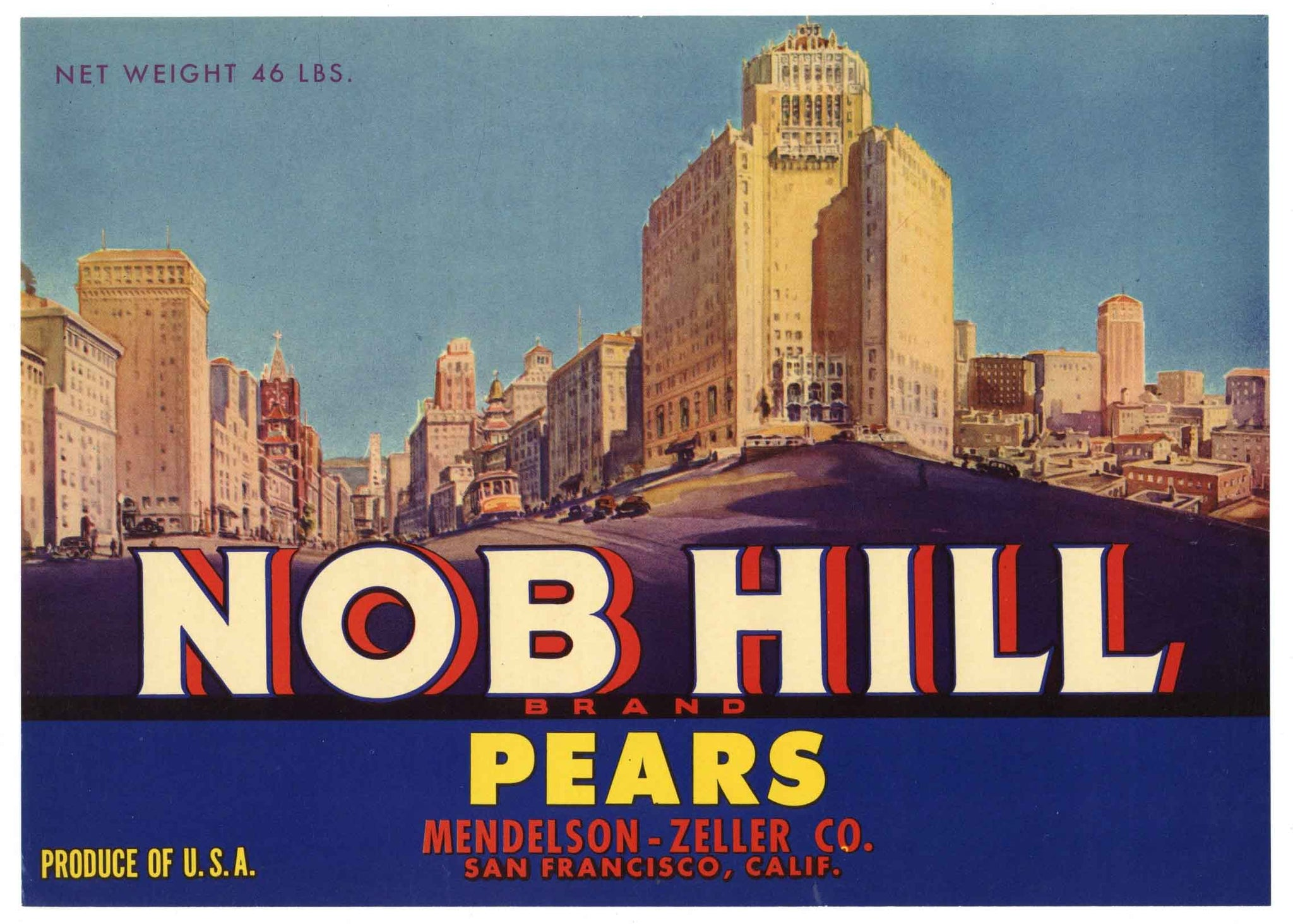 Nob Hill Brand Vintage Pear Crate Label, o