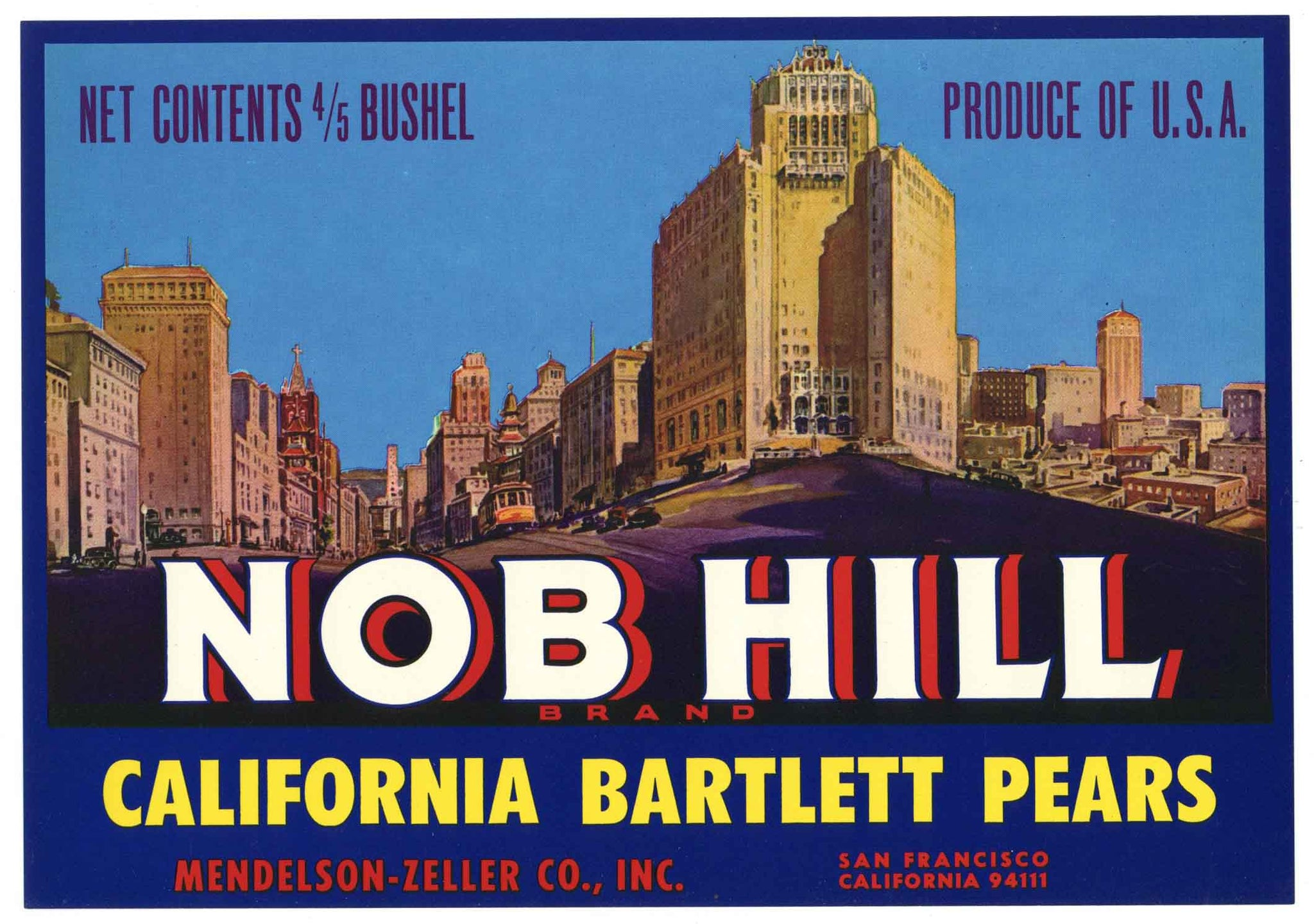 Nob Hill Brand Vintage Pear Crate Label, zipcode