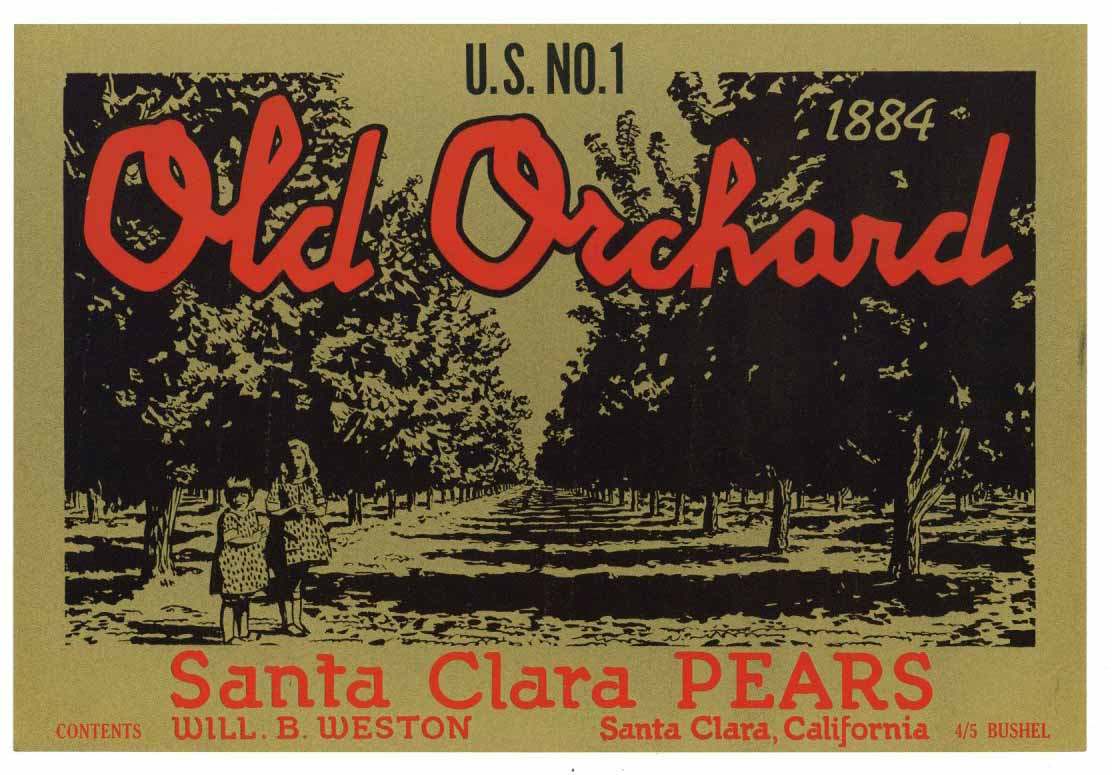 Old Orchard Brand Vintage Santa Clara California Pear Crate Label