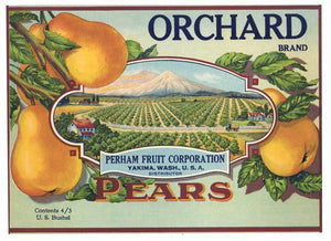 Orchard Brand Vintage Yakima Washington Pear Crate Label g