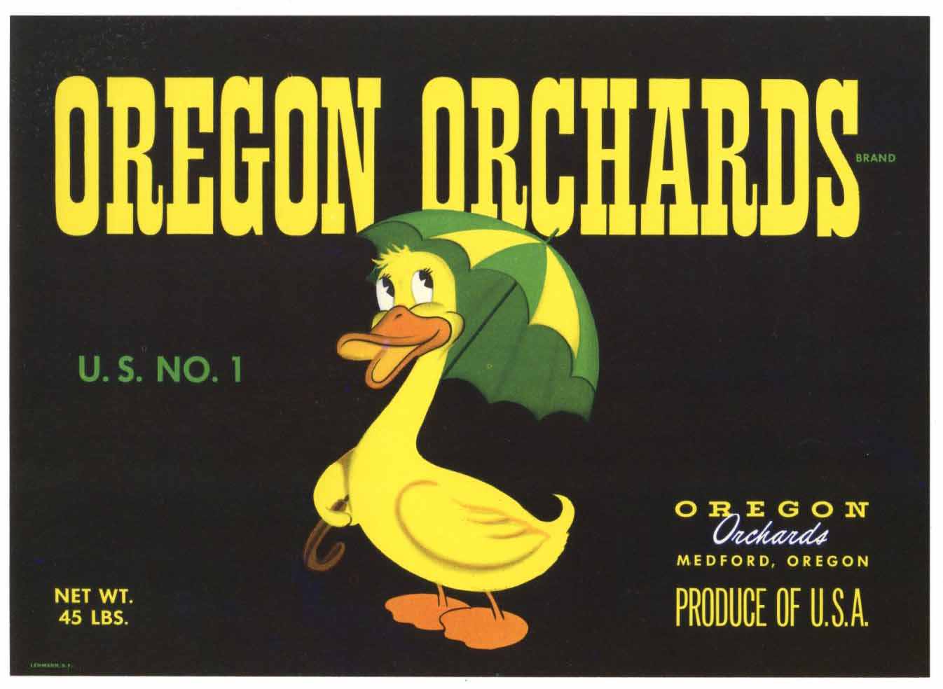 Oregon Orchards Brand Vintage Medford Oregon Pear Crate Label d