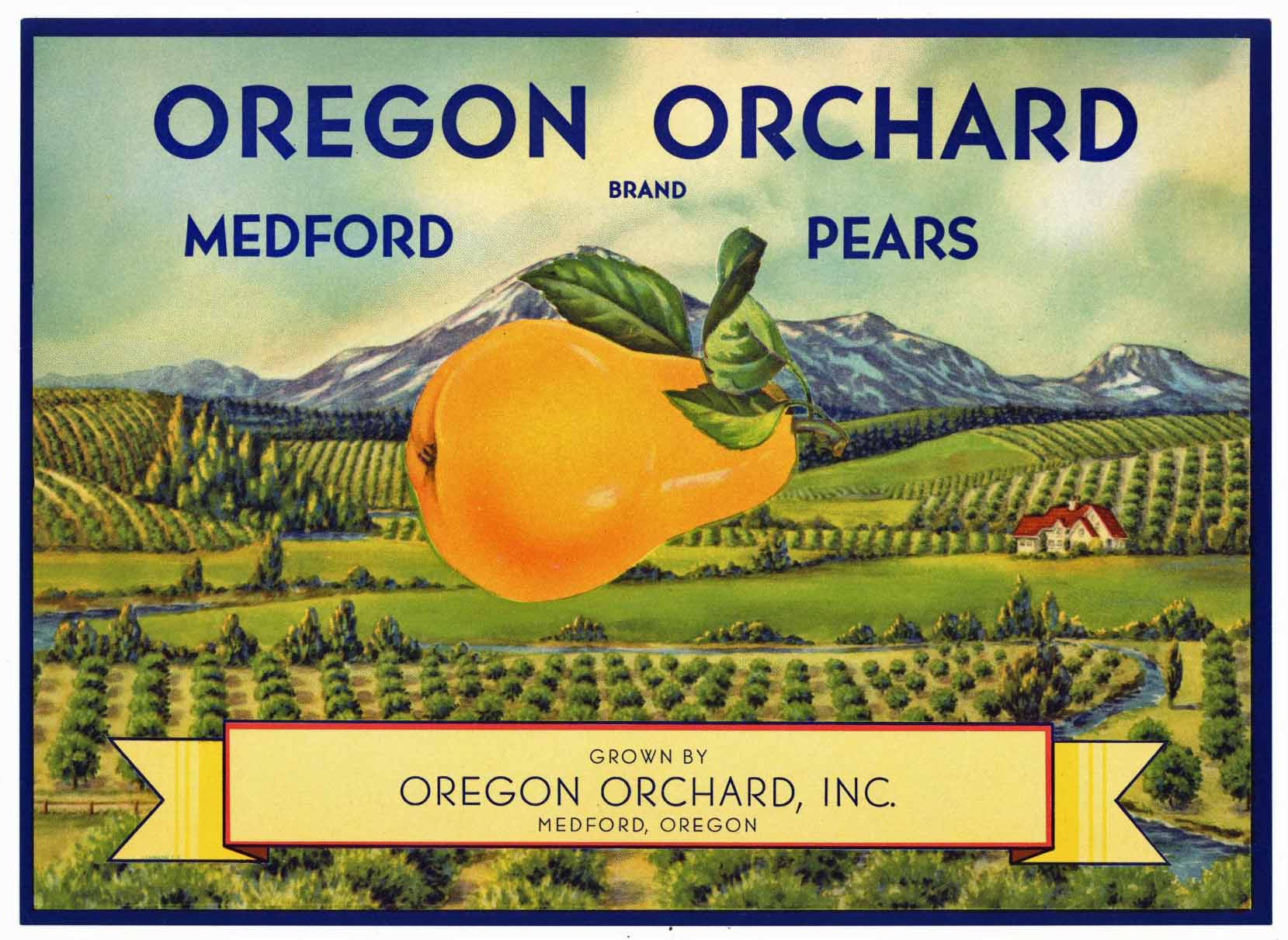 Oregon Orchard Brand Vintage Medford Oregon Pear Crate Label, s