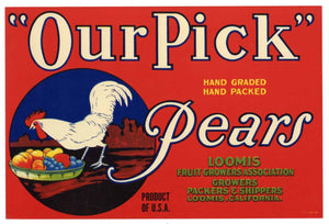 OUR PICK Brand Vintage Pear Crate Label (P153)
