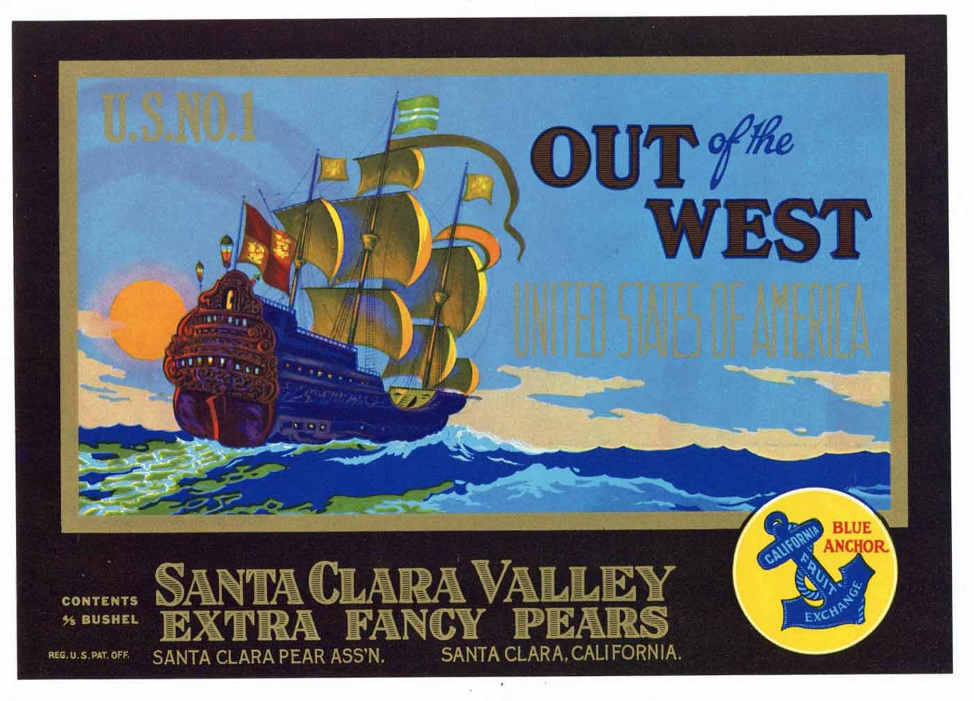 OUT OF THE WEST Brand Vintage Pear Crate Label (P154)