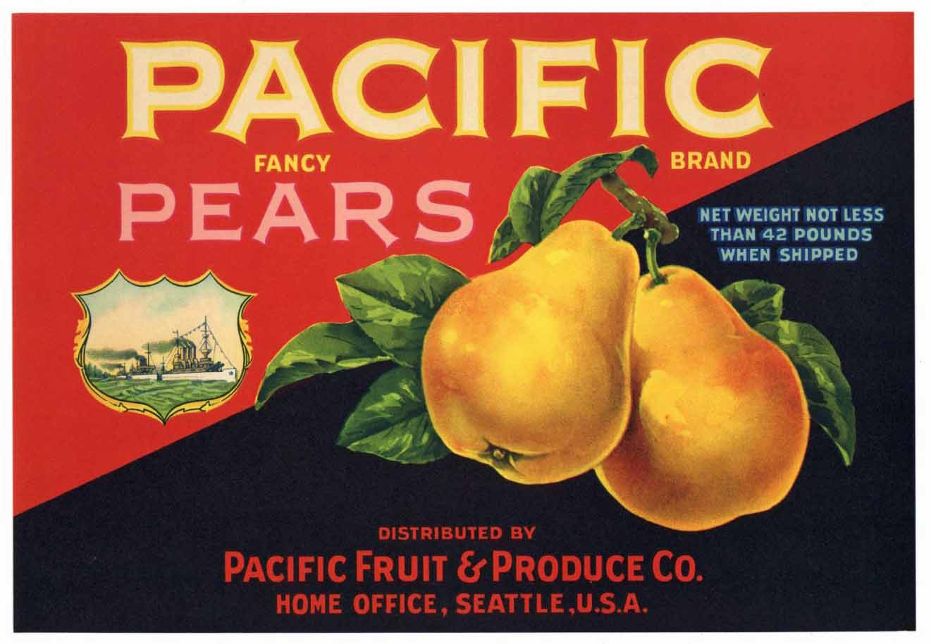 PACIFIC Brand Vintage Pear Crate Label (P155)