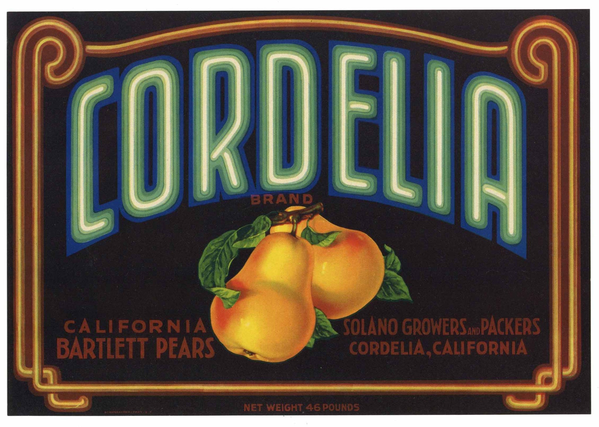 Cordelia Brand Vintage Solano Growers Pear Crate Label