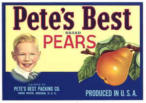 PETE'S BEST Brand Vintage Pear Crate Label (P164)