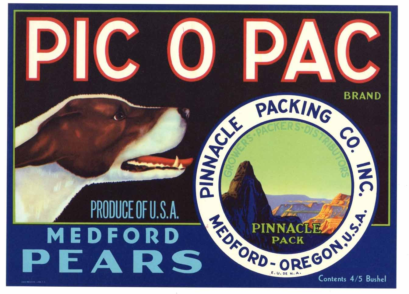 Pic O Pac Brand Vintage Medford Oregon Pear Crate Label