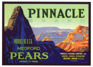 PINNALCE Brand Vintage Pear Crate Label (P168)