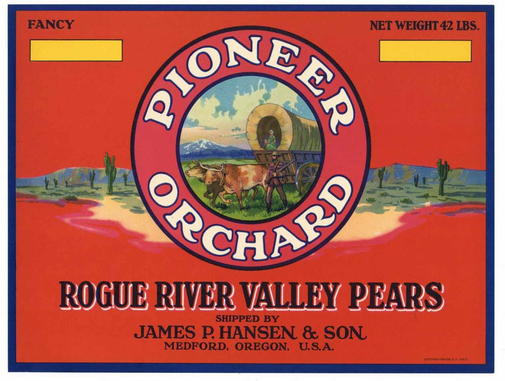 Pioneer Orchard Brand Vintage Medford Oregon Pear Crate Label r