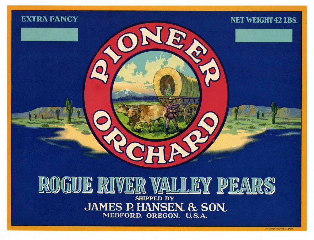 Pioneer Orchard Brand Vintage Medford Oregon Pear Crate Label b
