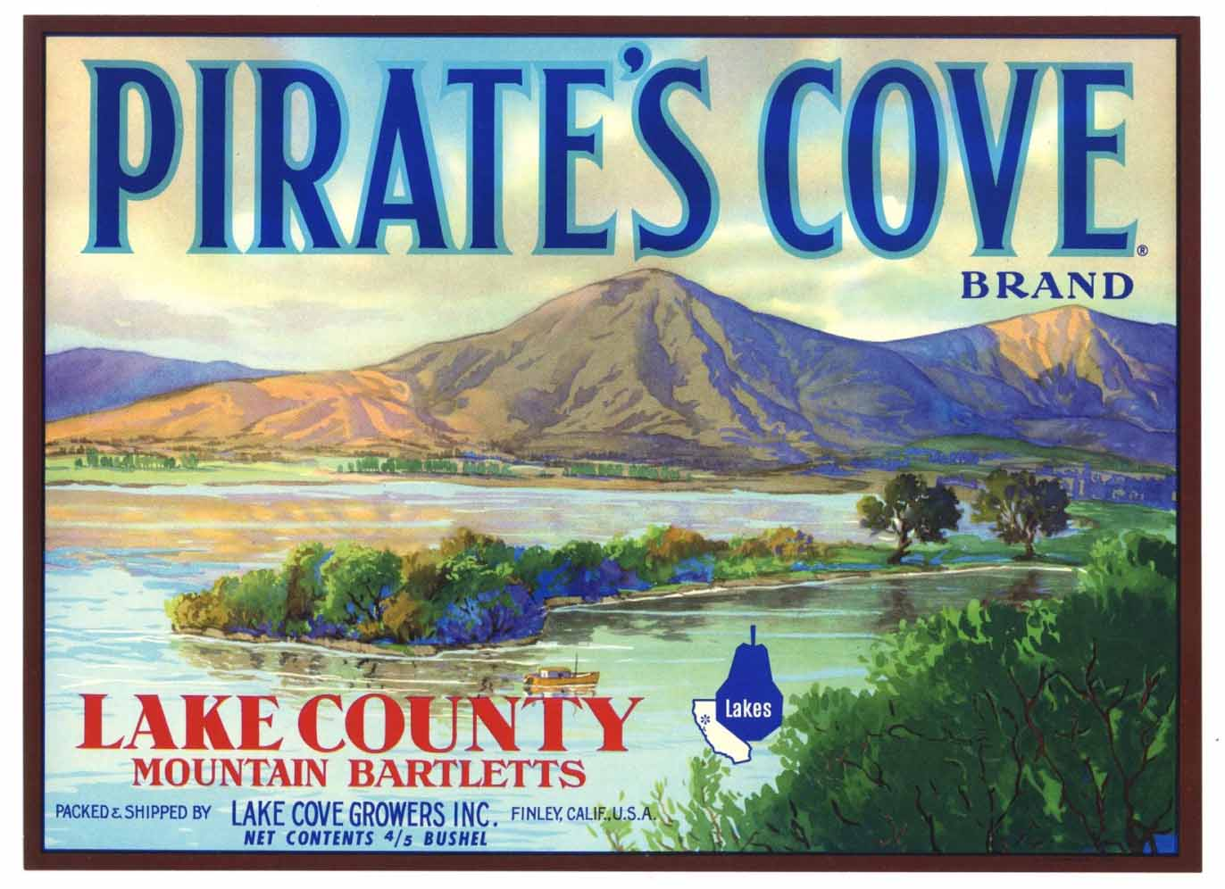 PIRATES COVE Brand Vintage Pear Crate Label (P171)
