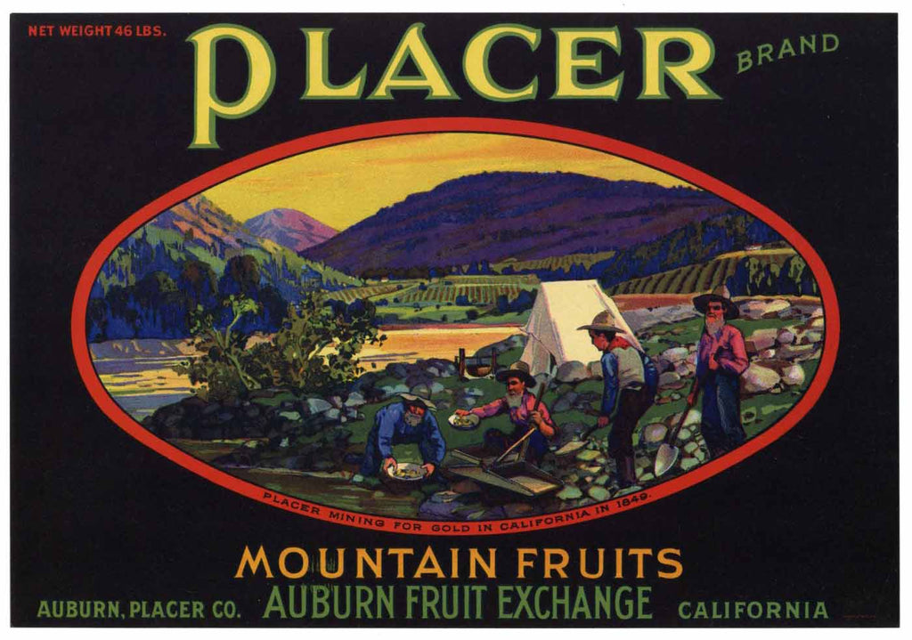 Placer Brand Vintage Auburn California Pear Crate Label