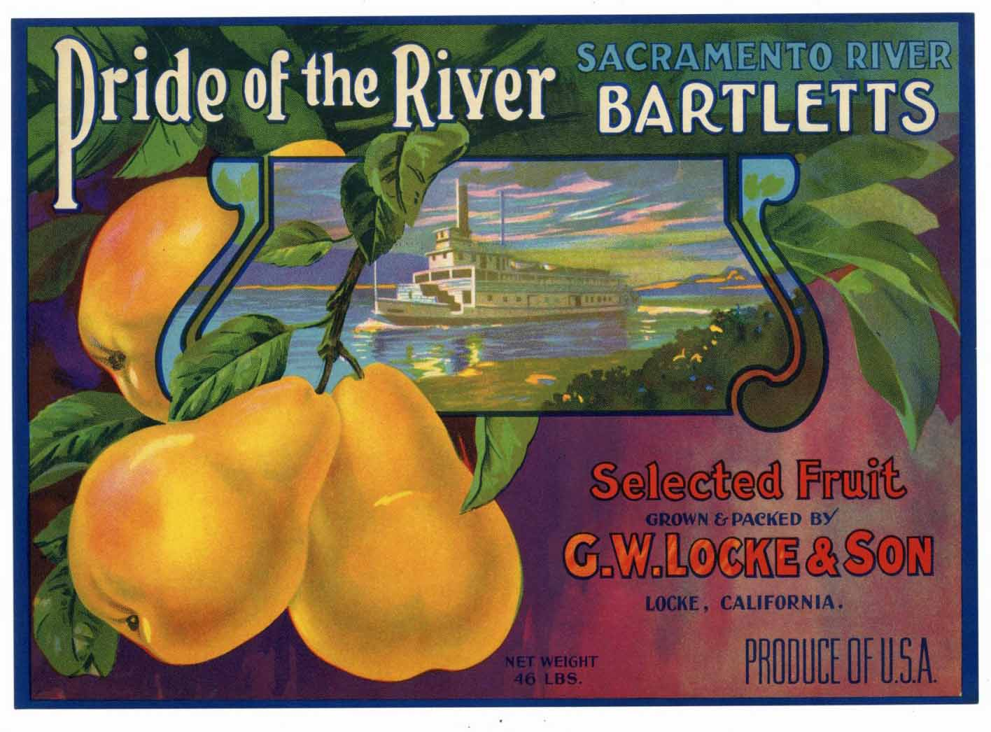 PRIDE OF THE RIVER Brand Vintage Pear Crate Label (P182)