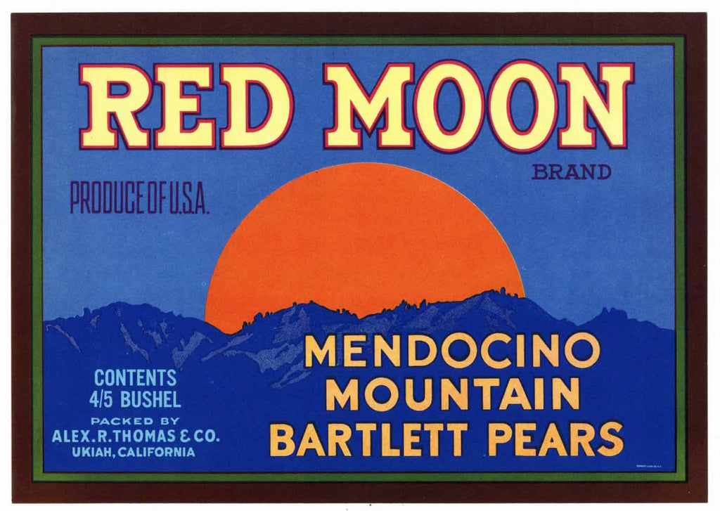 Red Moon Brand Vintage Ukiah California Pear Crate Label