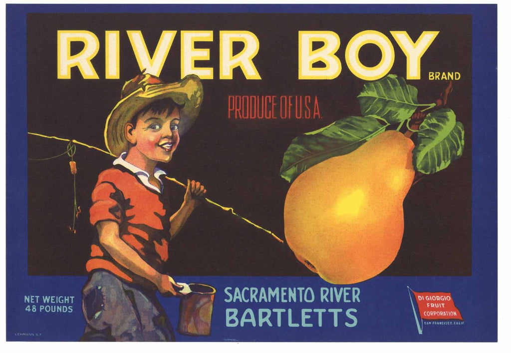 River Boy Brand Vintage Sacramento Delta Pear Crate Label