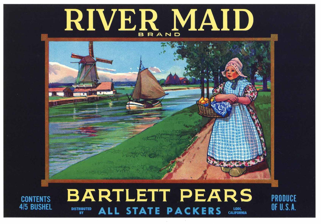 River Maid Brand Vintage Sacramento California Pear Crate Label