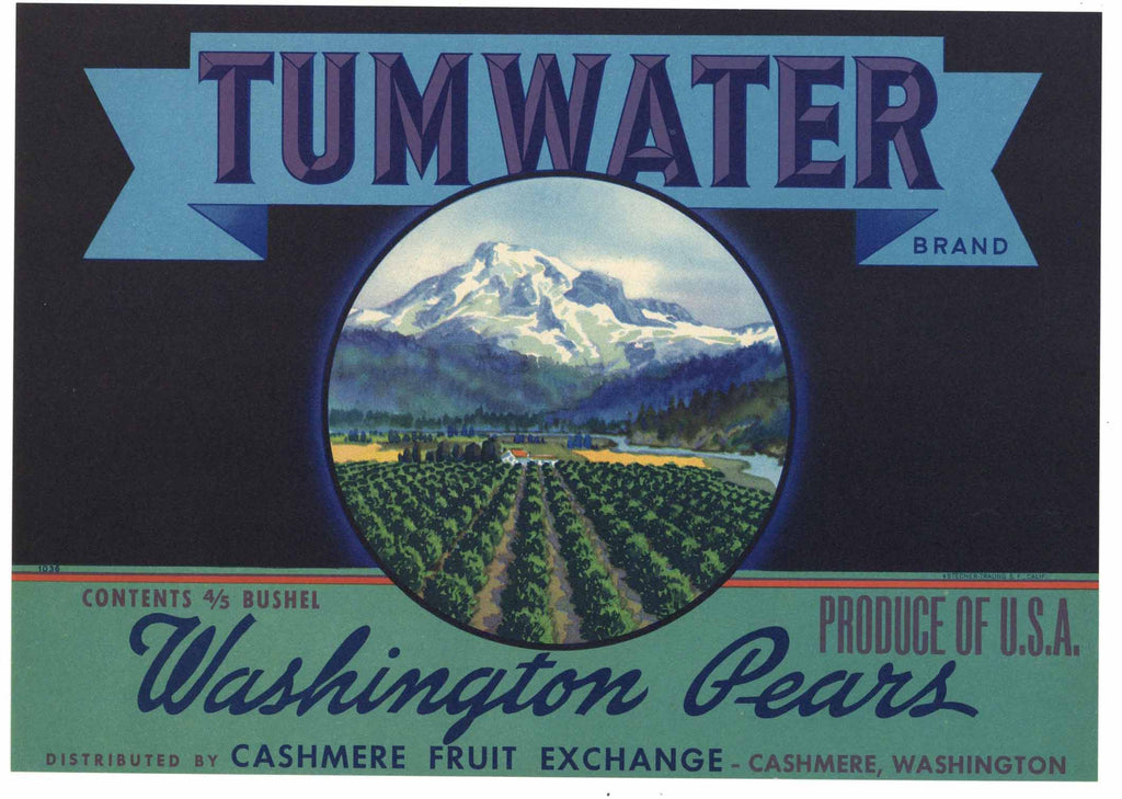 Tumwater Brand Vintage Washington Pear Crate Label, stock