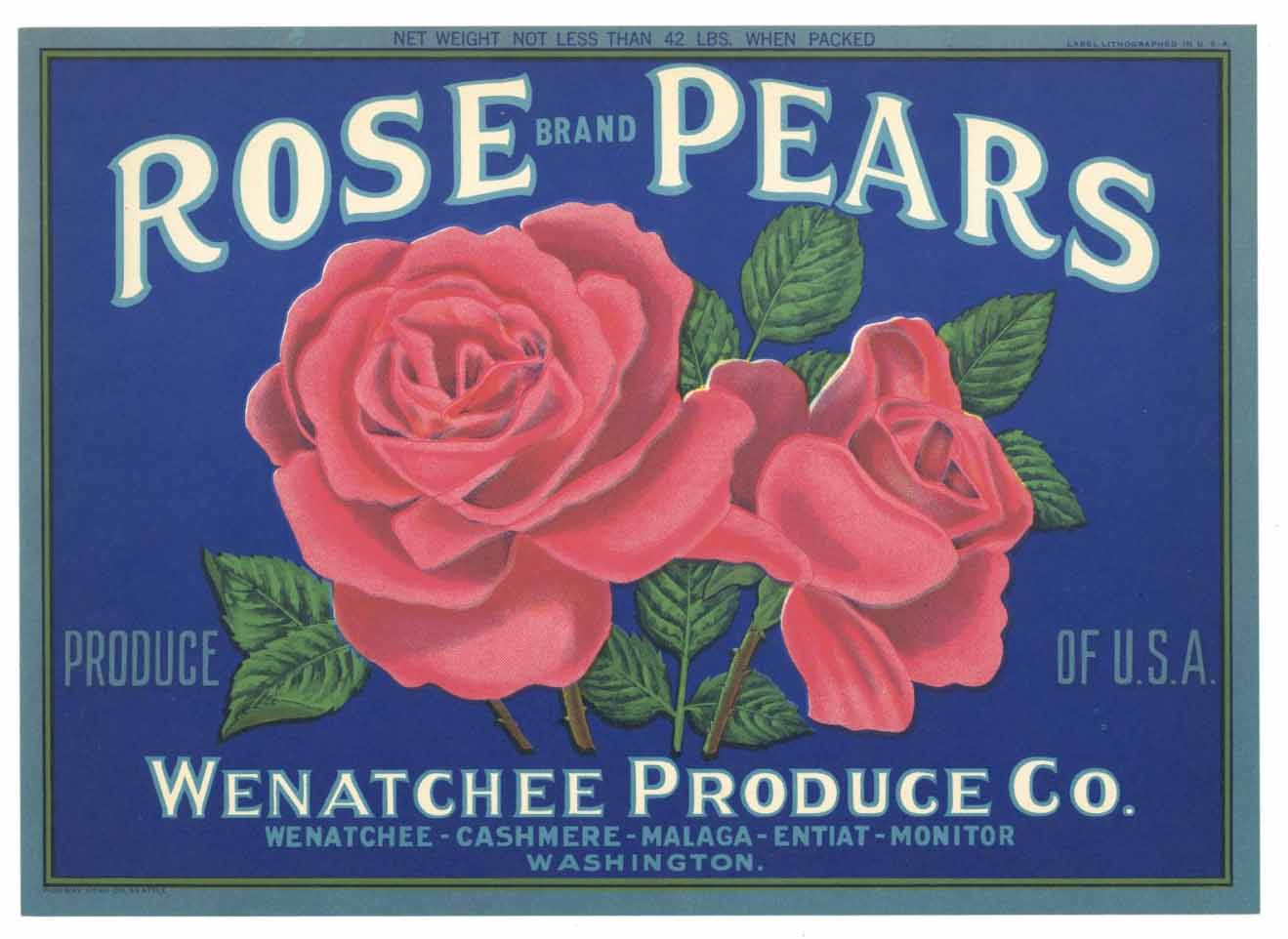 ROSE Brand Vintage Pear Crate Label (P196)