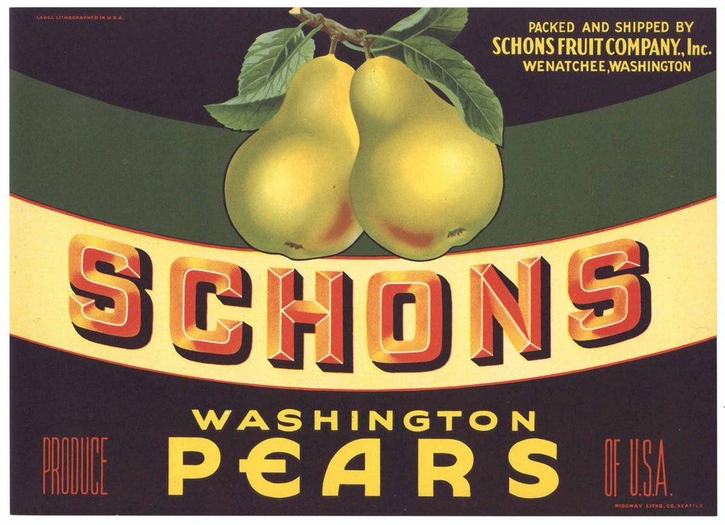 Schons Brand Vintage Wenatchee Washington Pear Crate Label