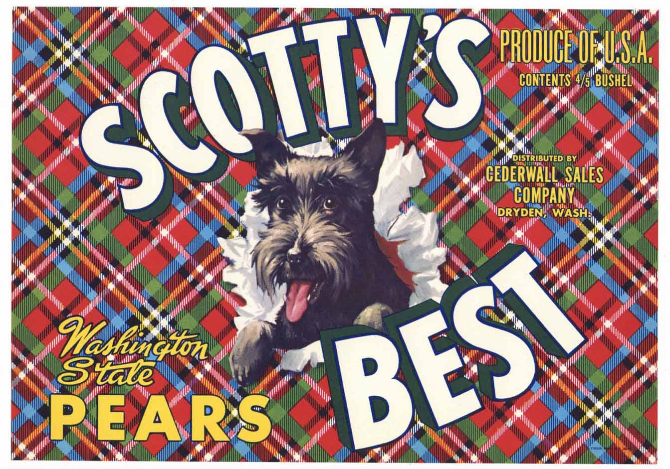 Scotty's Best Brand Vintage Dryden Washington Pear Crate Label