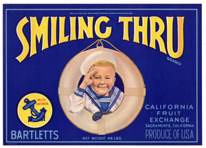 Smiling Thru Brand Vintage Sacramento Pear Crate Label