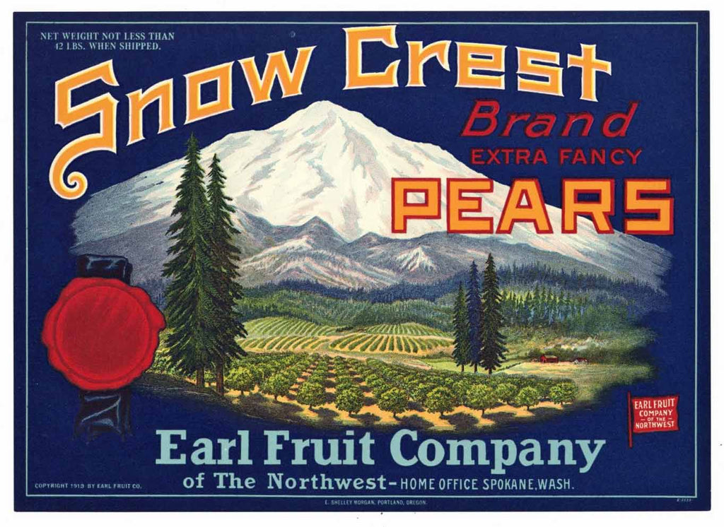 Snow Crest Brand Vintage Pear Crate Label b