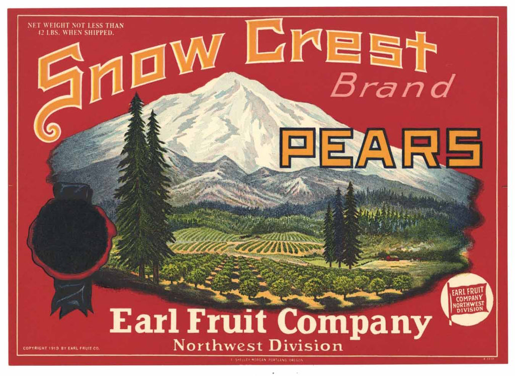 Snow Crest Brand Vintage Pear Crate Label r