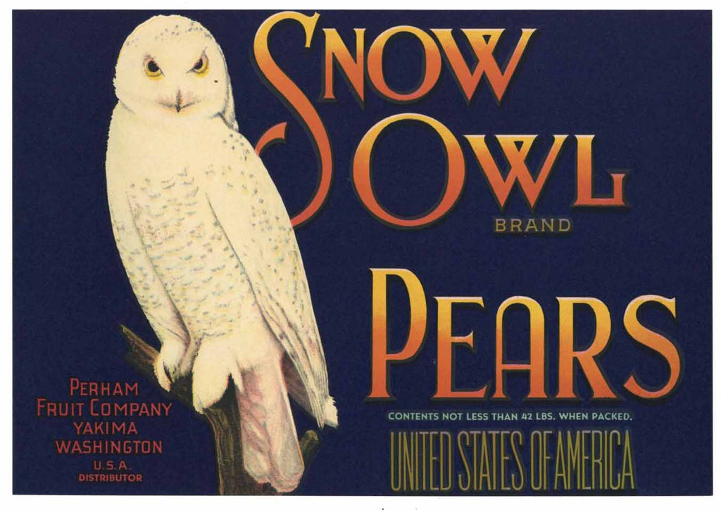 Snow Owl Brand Vintage Yakima Washington Pear Crate Label b
