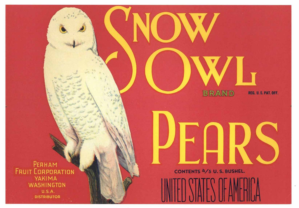 Snow Owl Brand Vintage Yakima Washington Pear Crate Label r