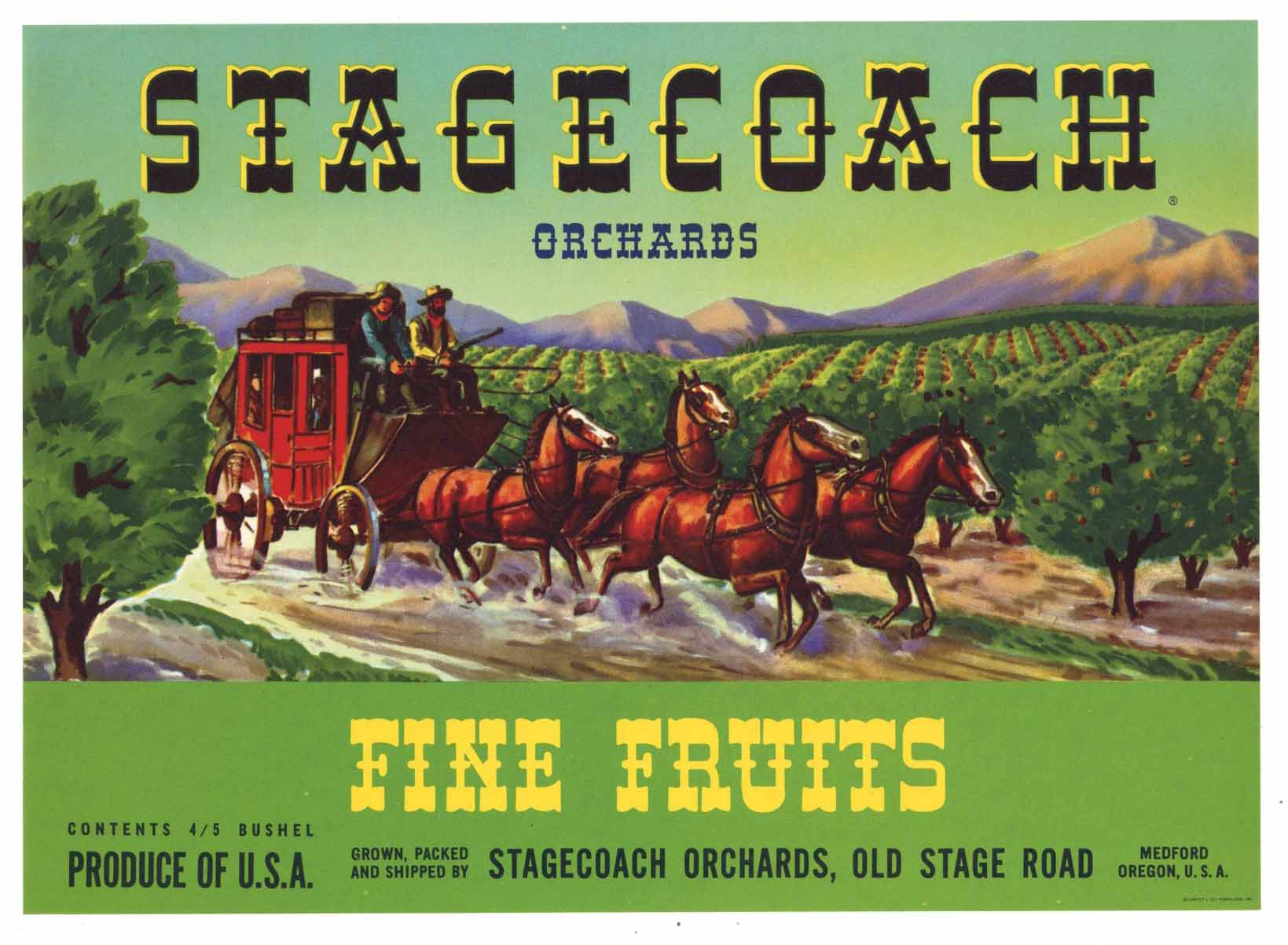 STAGECOACH Brand Vintage Pear Crate Label g (P213)