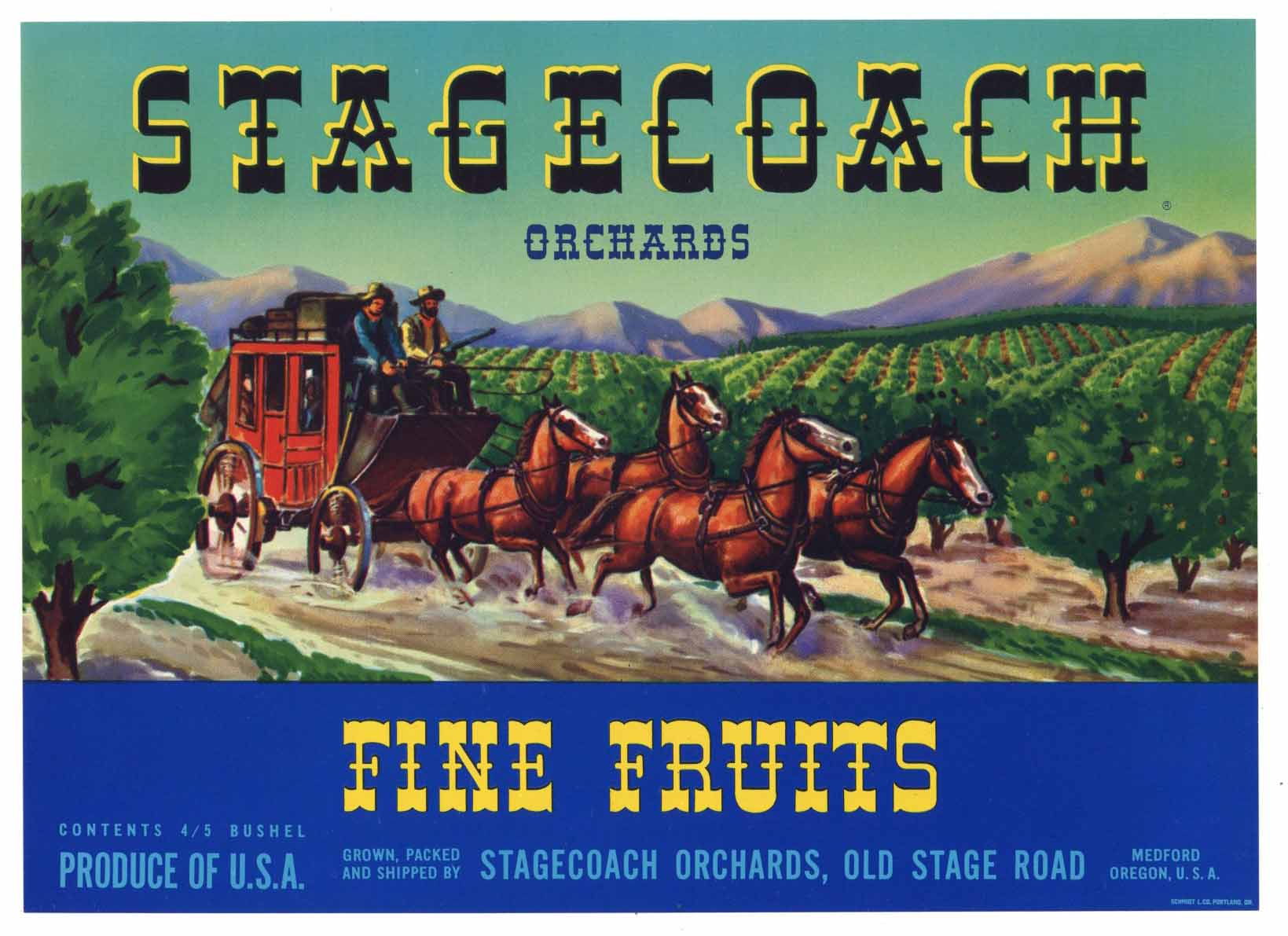 STAGECOACH Brand Vintage Pear Crate Label b (P213A)