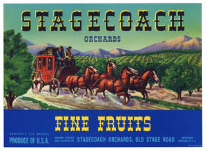 Stagecoach Brand Vintage Medford Oregon Pear Crate Label b