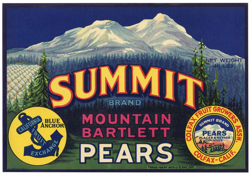 Summit Brand Vintage Colfax California Pear Crate Label