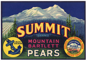 SUMMIT Brand Vintage Pear Crate Label (P222)