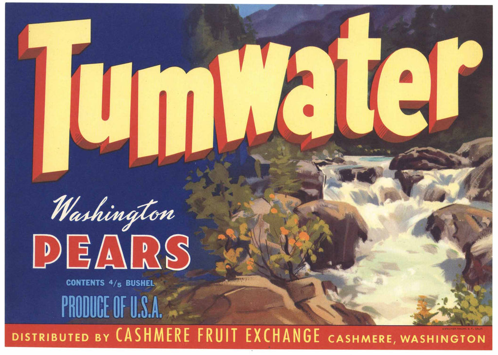 Tumwater Brand Vintage Washington Pear Crate Label, river