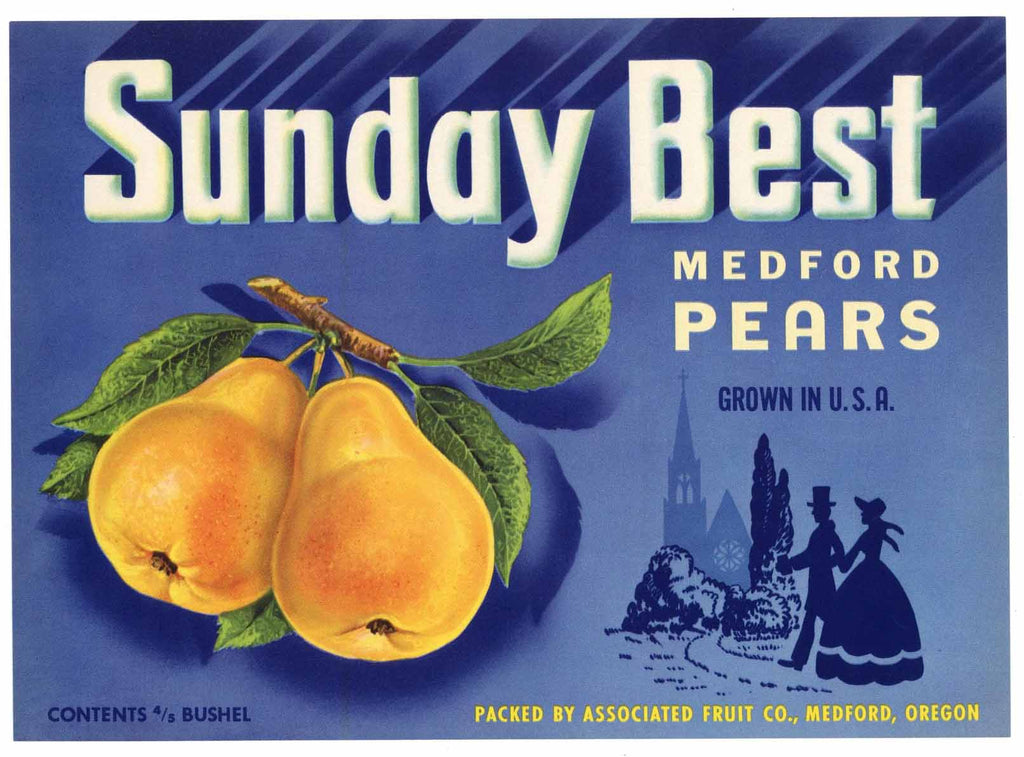 Sunday Best Brand Vintage Medford Oregon Pear Crate Label