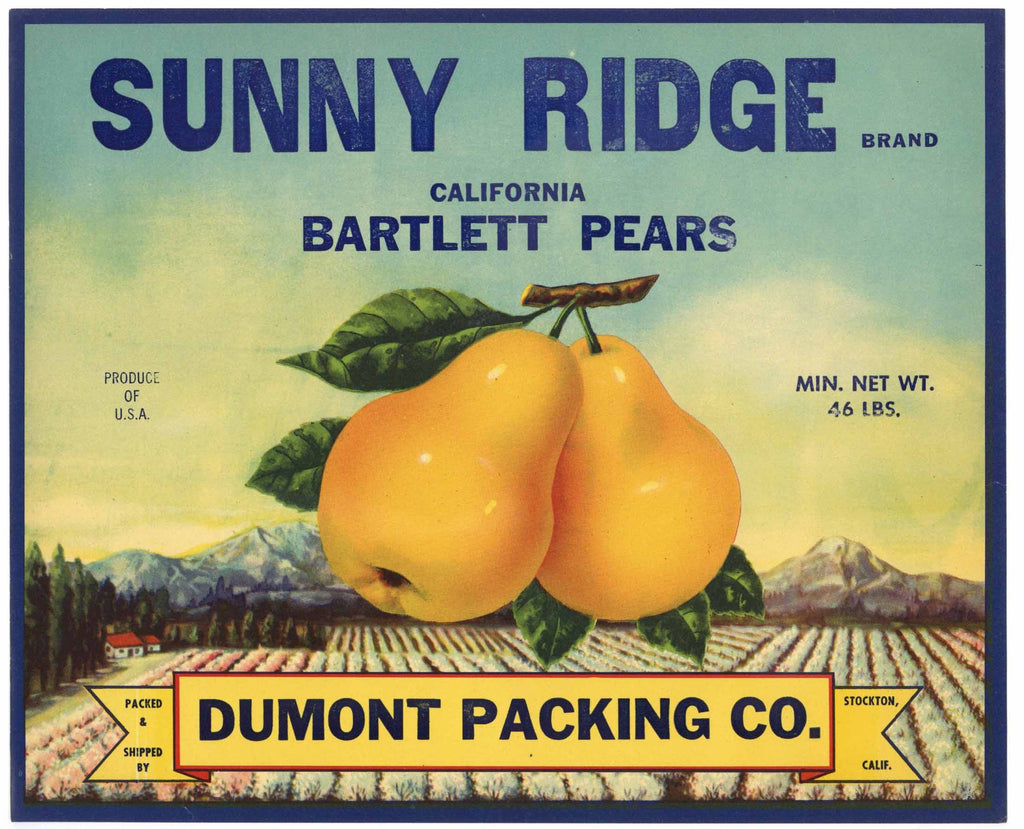 Sunny Ridge Brand Vintage Bartlett Pear Crate Label