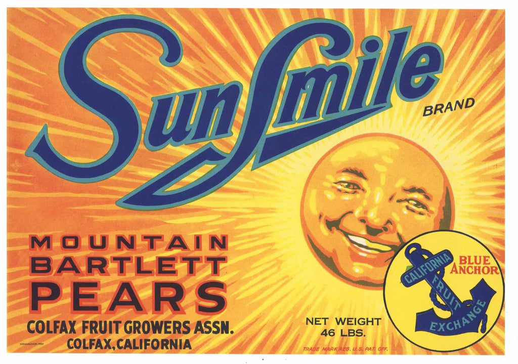 Sunsmile Brand Vintage Colfax California Pear Crate Label y