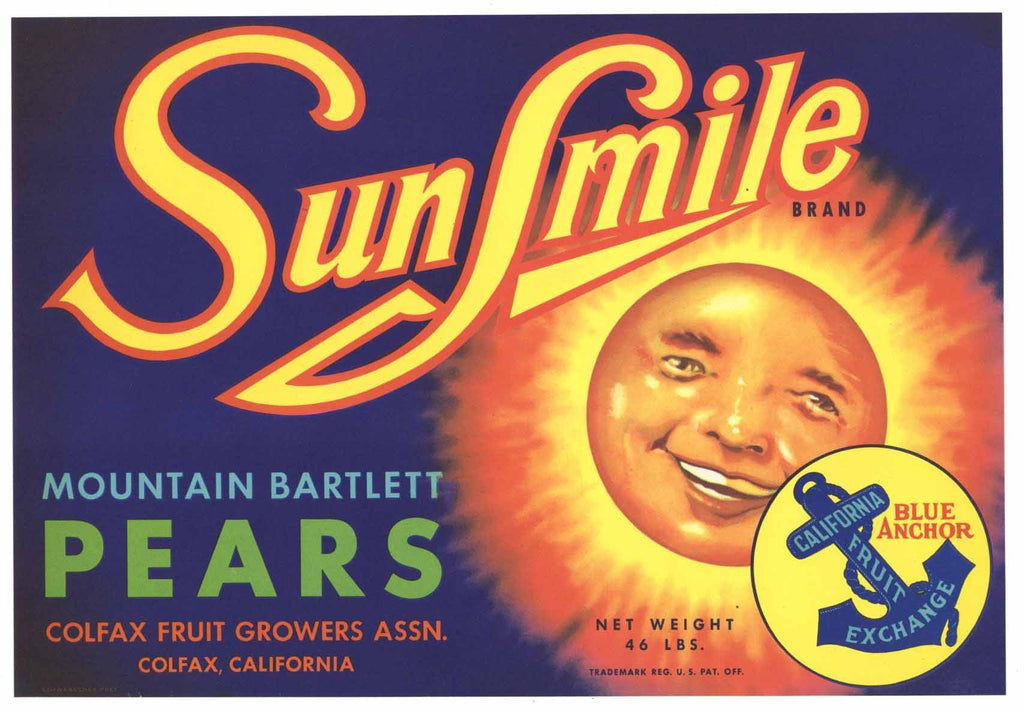 Sunsmile Brand Vintage Colfax California Pear Crate Label b