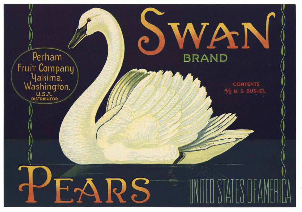 Swan Brand Vintage Yakima, Washington Pear Crate Label
