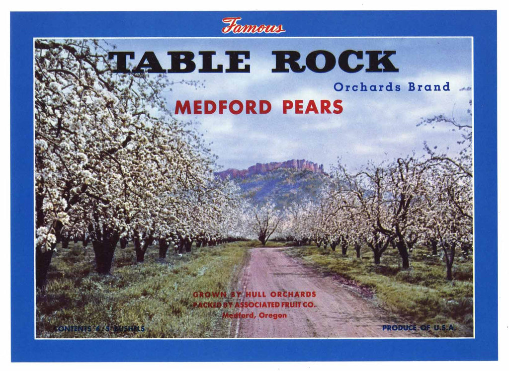 Table Rock Brand Vintage Medford Oregon Pear Crate Label