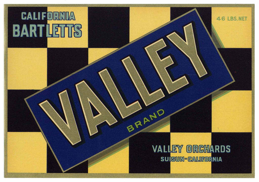 Valley Brand Vintage Suisun Pear Crate Label