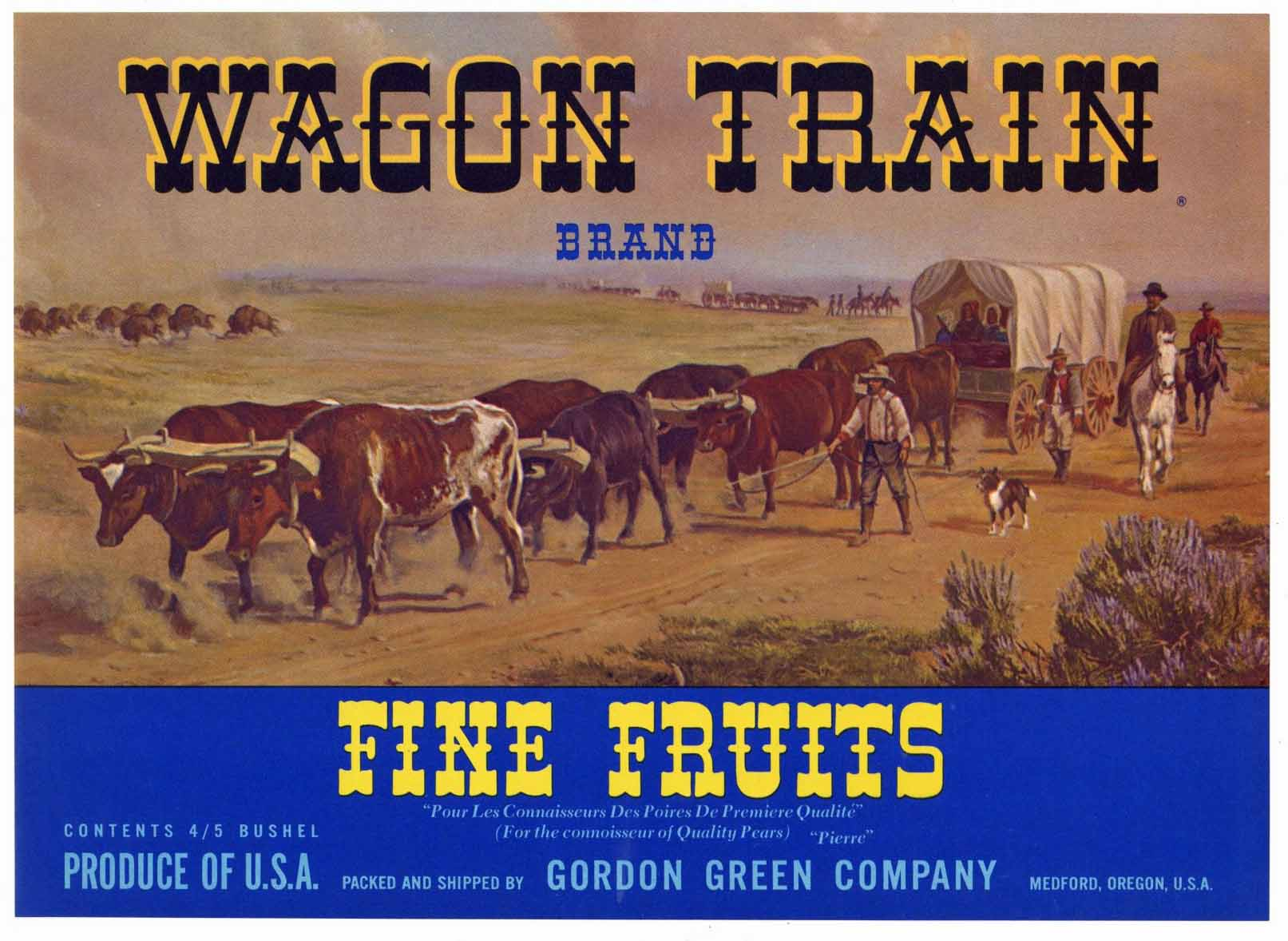 Wagon Train Brand Vintage Medford Oregon Pear Crate Label b
