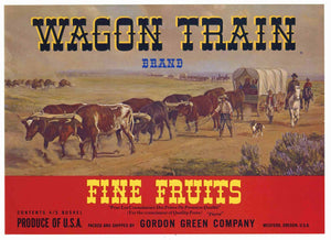 Wagon Train Brand Vintage Medford, Oregon Pear Crate Label r
