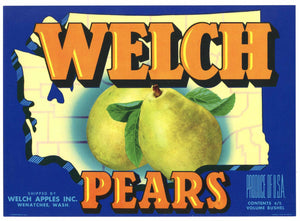 Welch Brand Vintage Wenatchee Washington Pear Crate Label