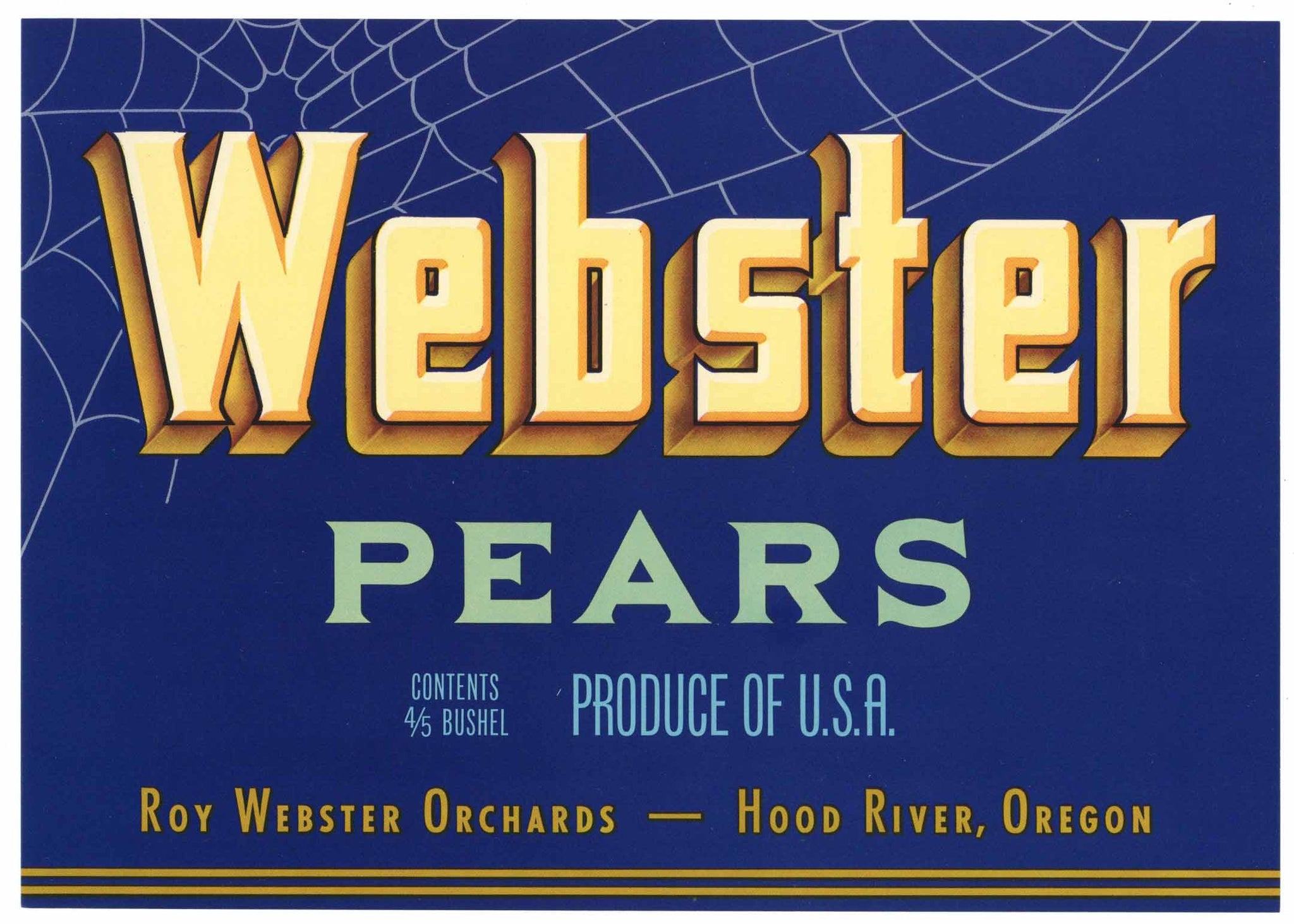 Webster Brand Vintage Hood River Oregon Pear Crate Label