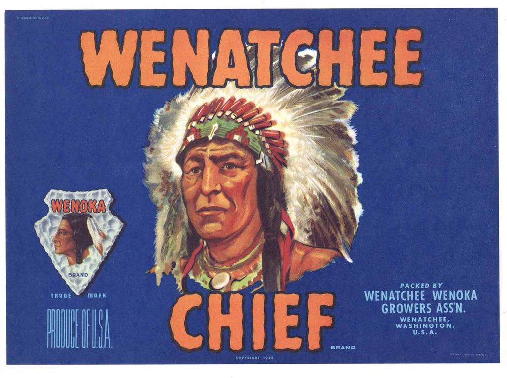 Wenatchee Chief Brand Vintage Washington Pear Crate Label