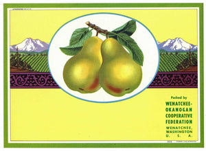 Wenatchee Okanogan Brand Vintage Washington Pear Crate Label